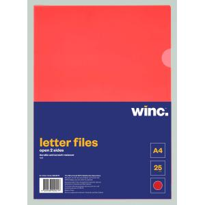 Winc Letter File A4 Open 2 Sides Red Pack 25