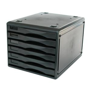 Metro 6 Drawer Desk Storage Unit B4 Black