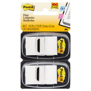 Post-It Flags 25.4 x 43.2mm White Pack 2