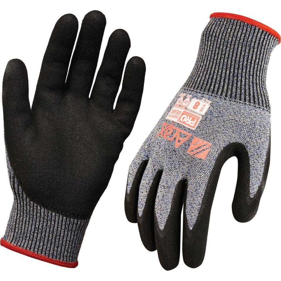 Paramount Safety And Arax Wet Grip Cut 5 Glove Cut Resistant Nitrile Palm Grey Pair