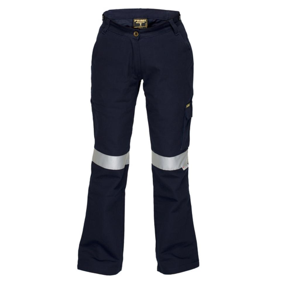Lwp709K Ladies Cotton Drill Cargo Pants With Reflective Tape Navy