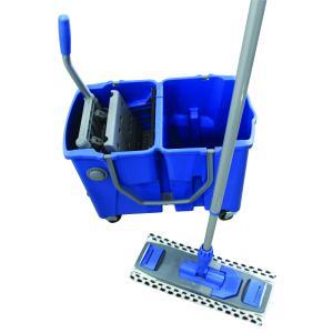 sabco dual bucket flat mop system 2x15l blue staples now winc