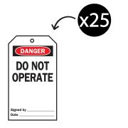 Brady 76224 Lock Out Tags Rev Side 4 B-851 Do Not Operate White/Black Pack 25