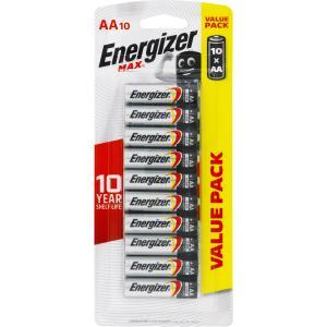 Energizer Max 1.5V Alkaline AA Batteries Pack 10