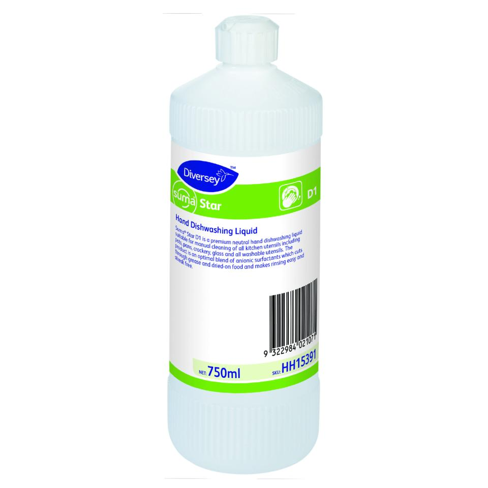 Diversey Suma Star D1 Hand Dishwashing Detergent 750ml