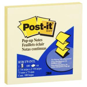 Post-It Notes Pop-Up Canary Yellow 76 x 76mm Pack 12