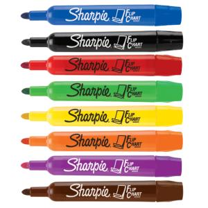 Sharpie flip chart marker bullet tip 3 0mm assorted colours pack 8