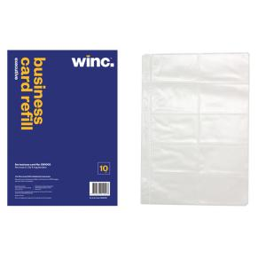 Winc Business Card File Executive Refill Pack 10
