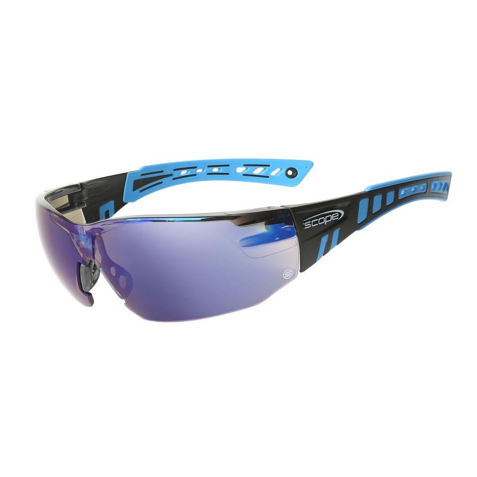 Speed Safety Spec Blue Miror Lens W Reflective Coating Blue Black Frame Pair