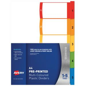 Avery Polypropylene ReadyIndex Dividers - 1-5 Tabs - Bright Multi-coloured (L7411-5)