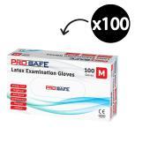 Prosafe Latex Examination Gloves Powder Free White Medium Box 100