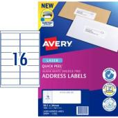 Avery Quick Peel Address Labels with Sure Feed  Laser Printer 99.1 x 34 mm 1600 Labels 959003 L7162