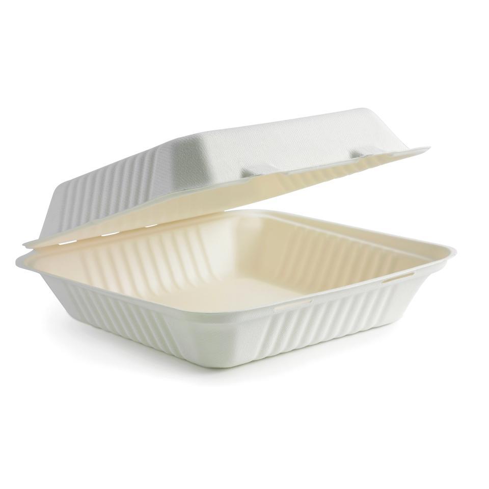 Biopak Biocane Square Lunch Box Large 76X230X230mm Carton 200