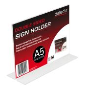Deflecto Sign Menu Holder Landscape Double Sided A5 Clear