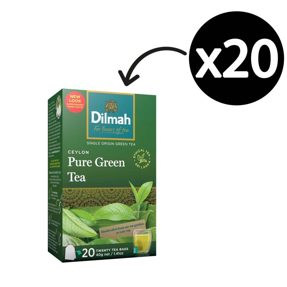 Dilmah Pure Ceylon Green Tea Tagged Tea Bags Pack 20