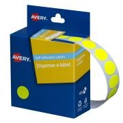 Avery Fluoro Yellow Circle Dispenser Labels - 14mm diameter - 700 Labels