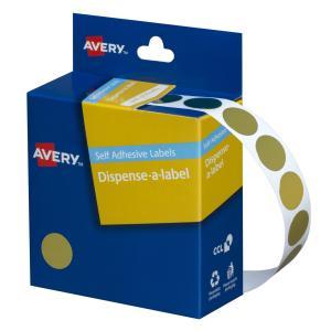 Avery Gold Circle Dispenser Labels - 14mm diameter - 500 Labels