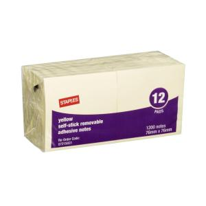 Staples Self-Stick Removable Notes 76X76mm Yellow 12 Pads Pack