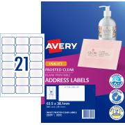 Avery Frosted Clear Address Labels for Inkjet Printers - 63.5 x 38.1mm - 525 Labels (J8560)