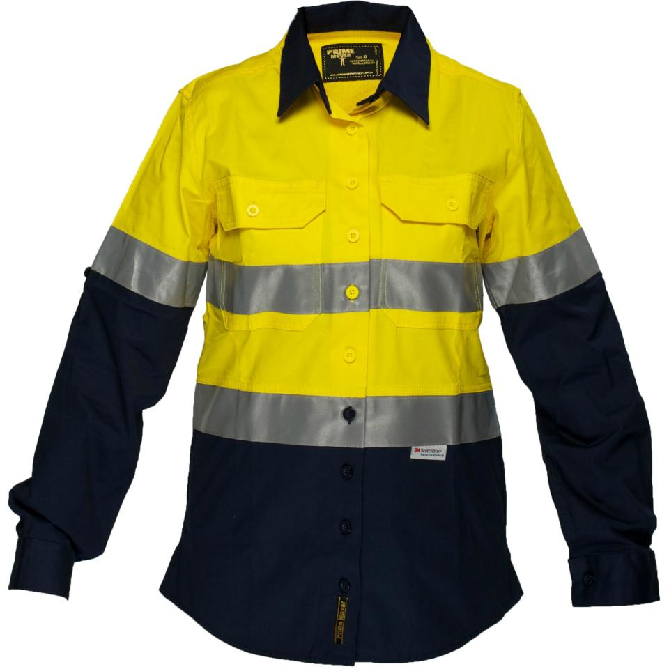 Prime Mover Womens Light weight Long Sleeve Cotton Drill shirt with 3M Reflective Tape