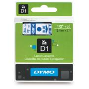 Dymo D1 Label Printer Tape 12mm x 7m Blue On White