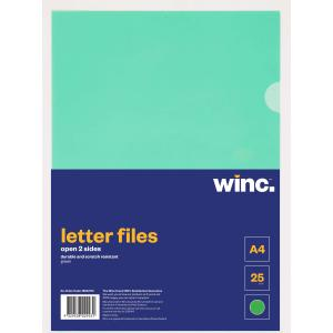 Winc Letter File A4 Open 2 Sides Green Pack 25
