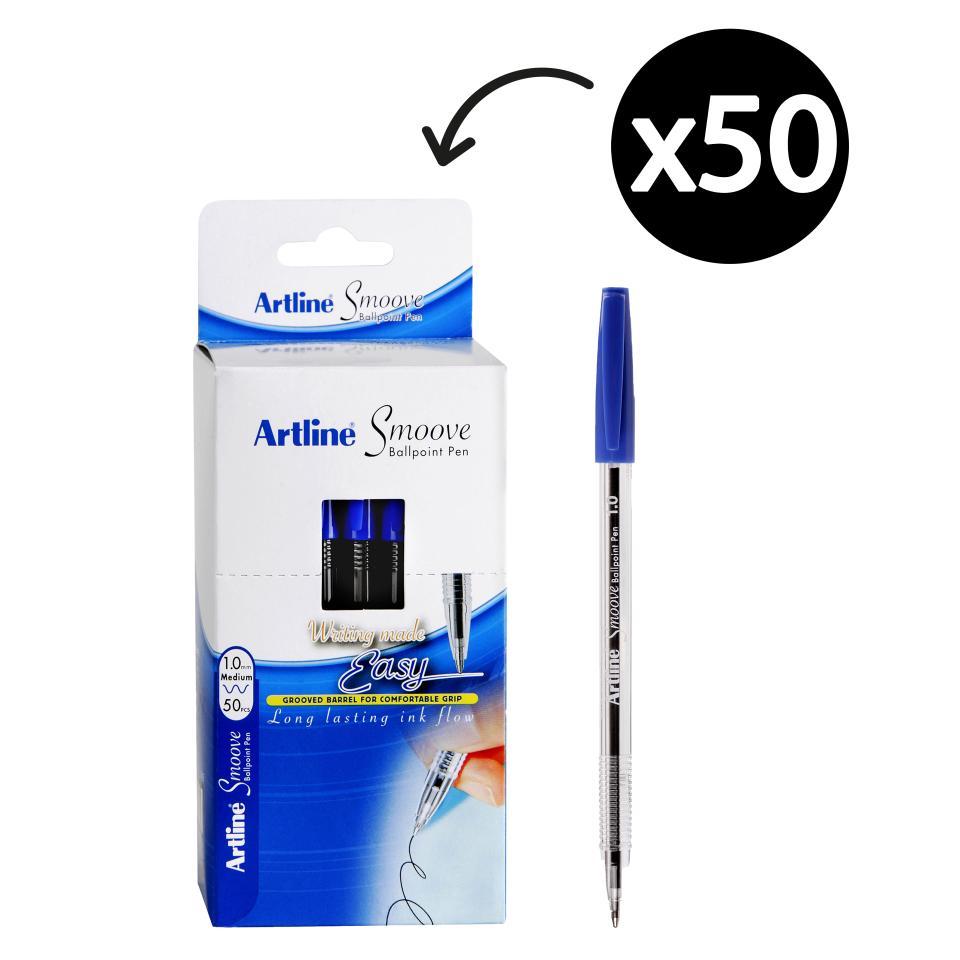 Artline Smoove Ballpoint Pen Medium 1.0mm Blue Box 50