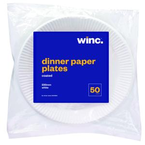 WINC Round Paper Dinner Plate Coated 230mm White Pack 50