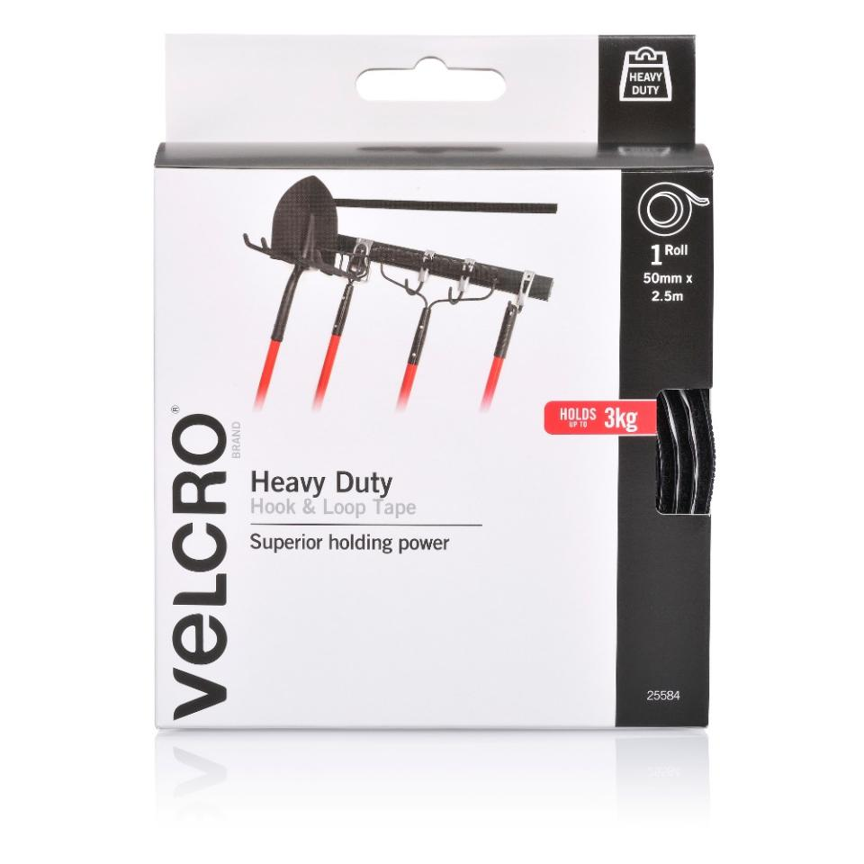 VELCRO Brand Heavy Duty Stick On Hook and Loop Fasteners Tape Black 50mm x 2.5m