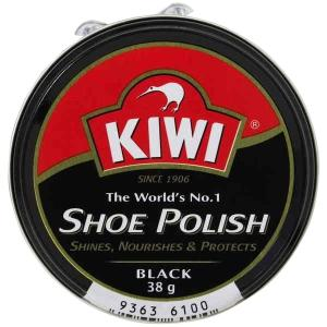 Kiwi Shoe Polish Black 38gm Round Tin