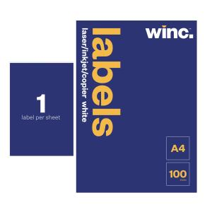Winc Laser Labels 210x297mm 1 Per Sheet Pack of 100 Sheets