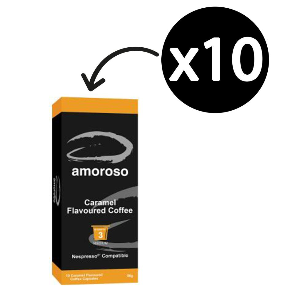 Amoroso Caramel Flavoured Coffee Capsules Box 10