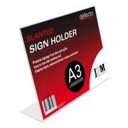 Deflecto Sign Menu Holder Landscape Slanted A3 Clear