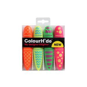 Colourhide My Designer Highlighter Chisel Tip 2.5-5.0mm Assorted Colours Pack 4