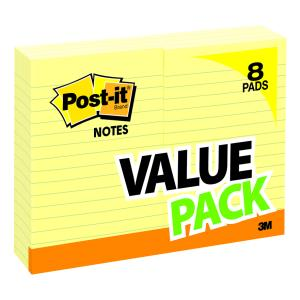 Post-It Notes Value Pack Canary Yellow Lined 101 x 152mm Pack 8