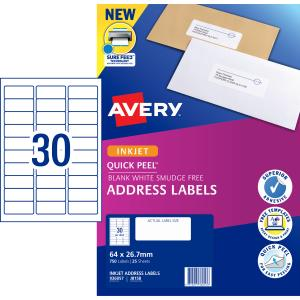 Avery Address Labels with Quick Peel for Inkjet Printers - 64 x 26.7mm - 750 Labels (J8158)