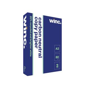 Winc Copy Paper Carbon Neutral 20% Recycled 80gsm A3 White Box 3 Reams