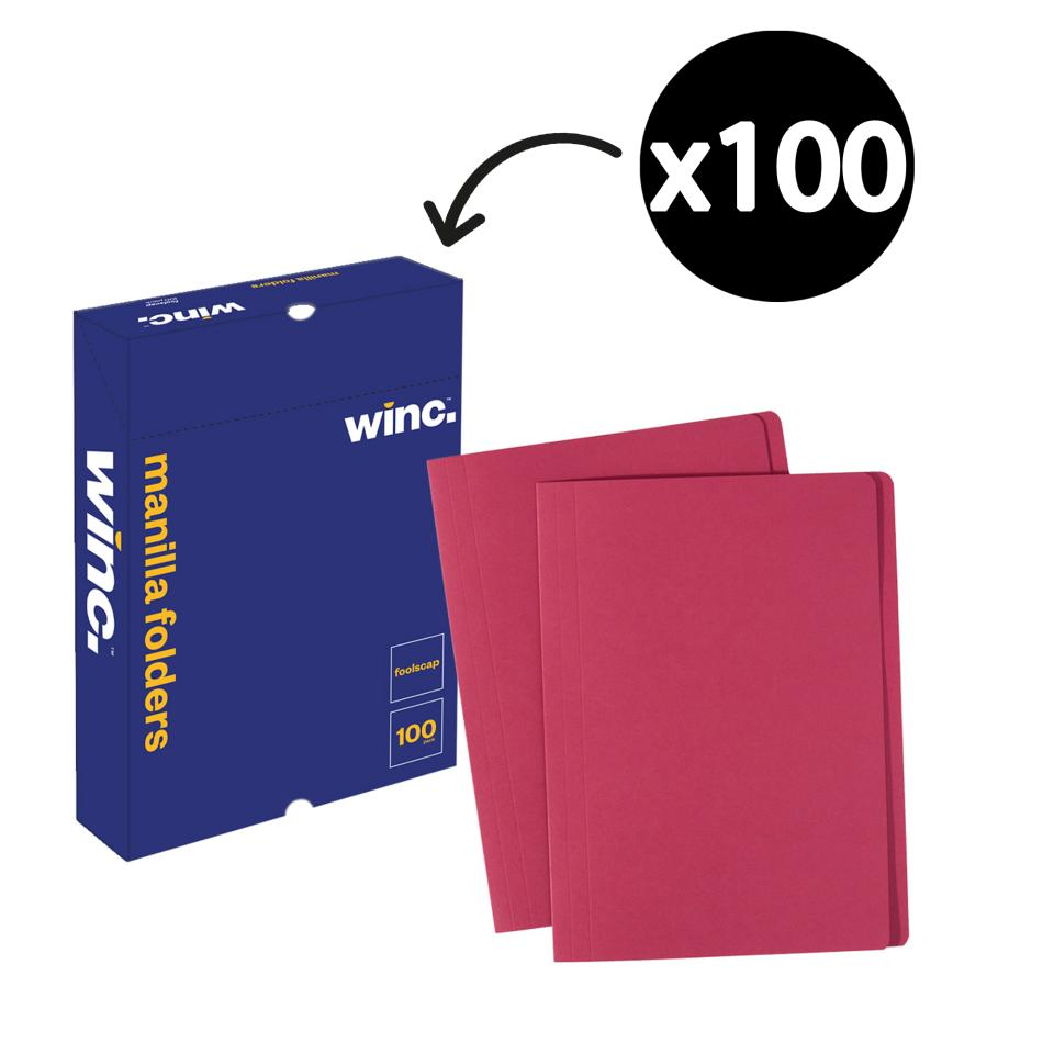 Winc Manilla Folder Foolscap Red Box 100