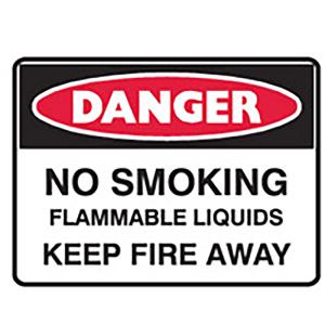 Brady Danger No Smoking Flammable Liquids Sign 600x450mm C1 Reflective PolyProp White/Red/Black Each