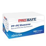 Pro Safe Non-Slip Shoe Cover CPE/PE White & Blue Pack 50
