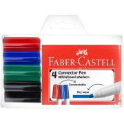 Faber Castell Assorted Colours Whiteboard Markers 3.0mm Bullet Tip Pack Of 4
