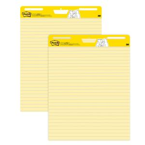 Post-It Super Sticky Easel Pad Yellow Lined 635 x 775mm Pack 2