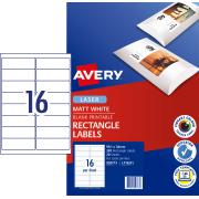 Avery Matte Photo Quality Labels for Laser Printers - 99.1 x 34mm - 320 Labels (L7162CL)