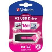 Verbatim Store 'n' Go V3 16 GB USB 3.0 Flash Drive - Hot Pink