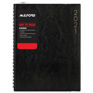 Milford Platinum 2021 Diary A4 Day to Page Assorted Colours