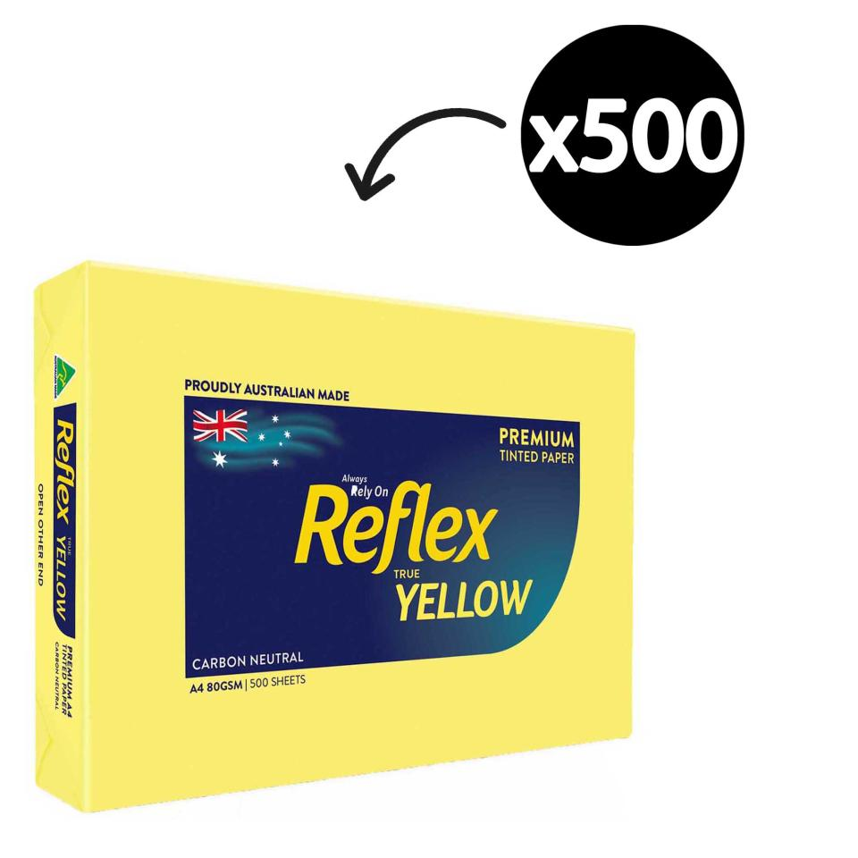Reflex Colours Copy Paper A4 80gsm Yellow Ream 500