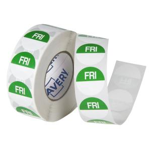 Avery Food Rotation Friday Day Label Removable Adhesive Green 24mm Round Roll 1000