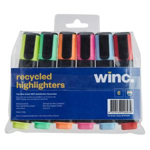 Winc Chisel Tip 1.0-4.5mm Recycled Highlighter Assorted Colours Pack 6