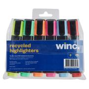 Winc Recycled Highlighter Chisel Tip 1.0-4.5mm Assorted Colours Pack 6
