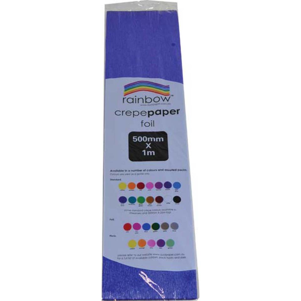 Rainbow Foil Crepe Paper Blue 500mm X 1m Roll